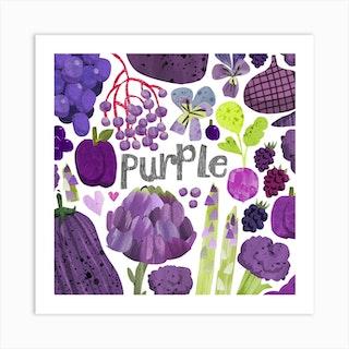 Rainbow Purple Square Art Print