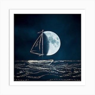Sail Me To The Moon Art Print Square Art Print