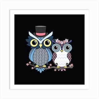 Owl Love Square Art Print