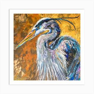 Blue Heron On Gold Square Art Print