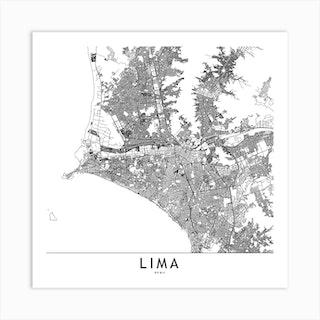 Lima White Map Square Art Print