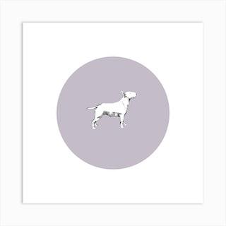 Bull Terrier On Purple Square Art Print