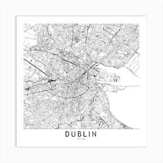 Dublin White Map Square Art Print