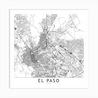 El Paso White Map Square Art Print