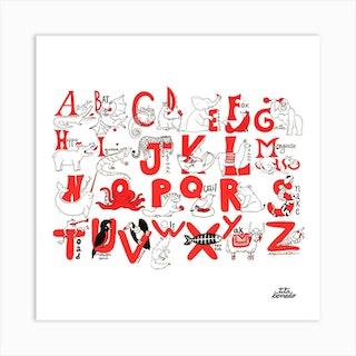 Animal Alphabet Square Art Print