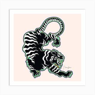 Black Tiger Outlined Square Art Print