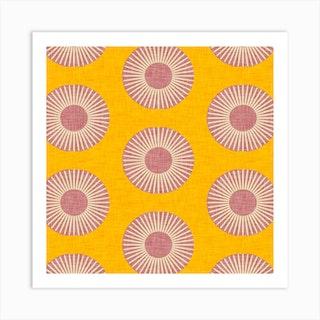 Earth Mod Sun Yellow Purple Square Art Print