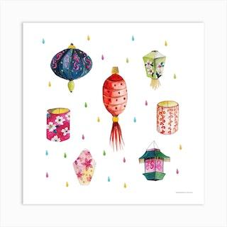 Les Lanternes Square Art Print