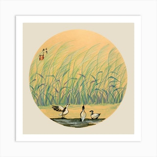 River Bank Square Art Print