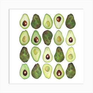 Repeat Pattern Avocado Square Art Print