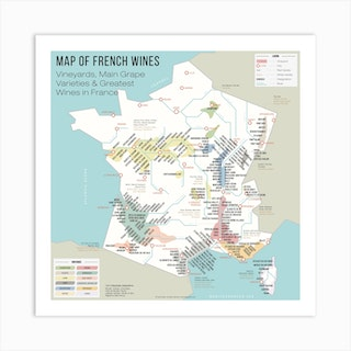 Map Of French Wines Square Art Print