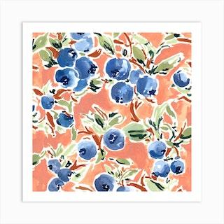 Blueberries Square Art Print