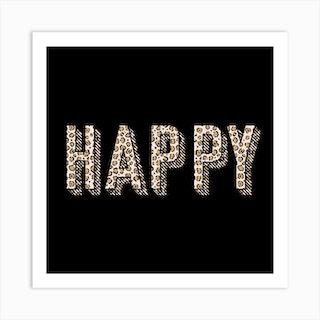 Leopard Happy Square Art Print