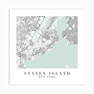Staten Island New York Street Map Minimal Color Square Art Print