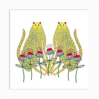 Cheetahs And Flowers Square Art Print