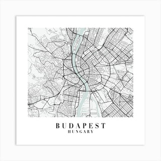 Budapest Hungary Street Map Minimal Color Square Art Print