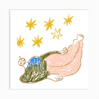 Girl With Stars Square Art Print
