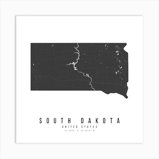South Dakota Mono Black And White Modern Minimal Street Map Square Art Print