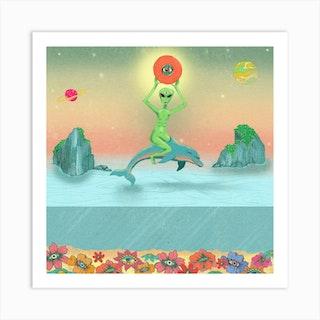 Alien Riding A Dolphin Square Art Print