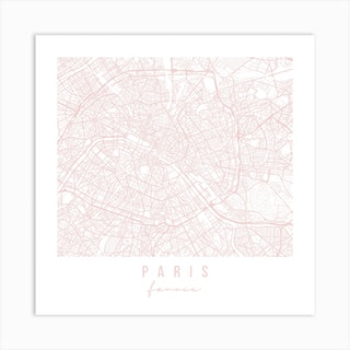 Paris France Light Pink Minimal Street Map Square Art Print