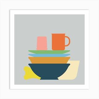 Washing Up Square Art Print