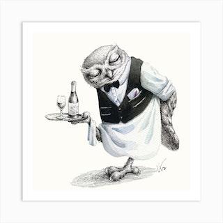 Waiter Owl Art Print