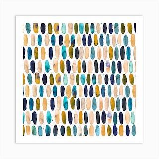 Pills Blue Ocre White Bg Square Art Print