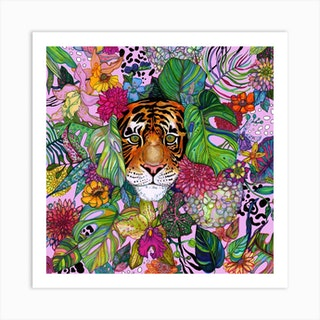 Jungle Tiger Pink Square Art Print