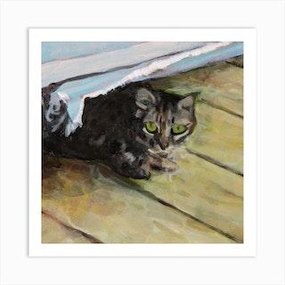 Hiding Cat Square Art Print