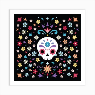 Cute Day Of The Dead Square Art Print