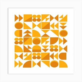 Mustard And Saffron Shapes Square Art Print