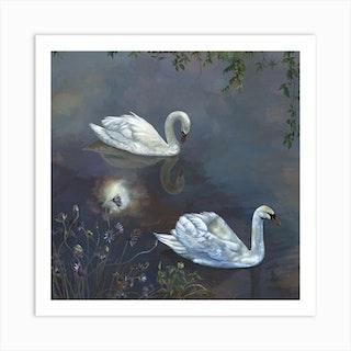Moonlight Swans Art Print