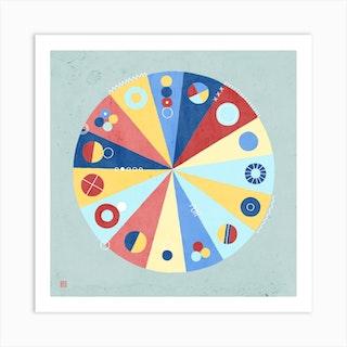 Fortune Wheel Meditative Mandala Art Print