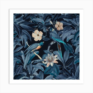 Junglebirds At Night Art Print