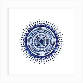 Indigo Mandala Square Art Print
