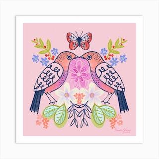 Love Birds Square Art Print