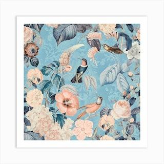 Hummingbirds Paradise Blue Art Print