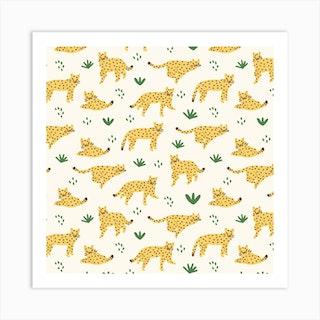 Cheetahs Square Art Print