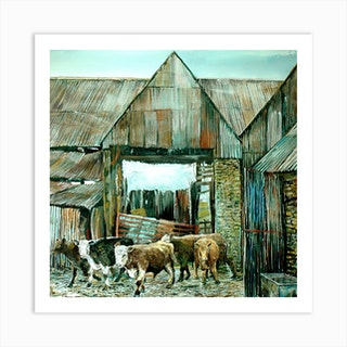 Letting Out Cattle Art Print