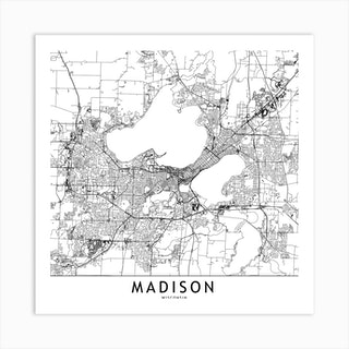 Madison White Map Square Art Print