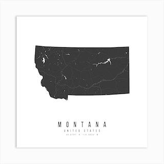 Montana Mono Black And White Modern Minimal Street Map Square Art Print