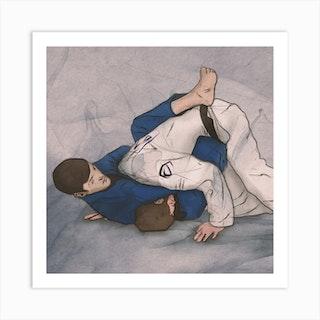 Brazilian Jiu Jitsu   Guillotine Square Art Print