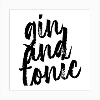 Gin And Tonic Bold Script Square Art Print
