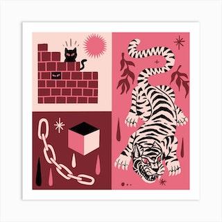 Big Cats Little Cats Square Art Print
