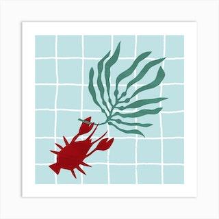Lone Lobster Square Art Print