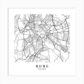 Rome Italy Street Map Minimal Square Art Print