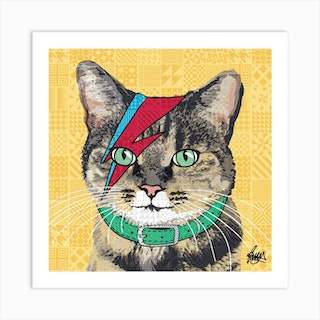 Bowie Tabby Square Art Print