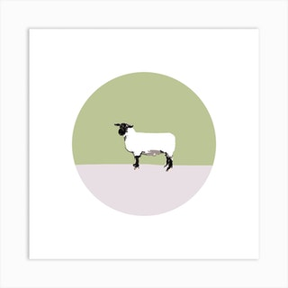 Sheep On Green Pink  Square Art Print