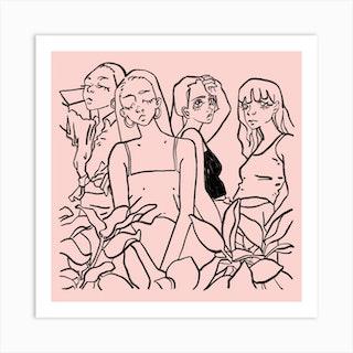 Girls Girls Girls Pink Square Art Print