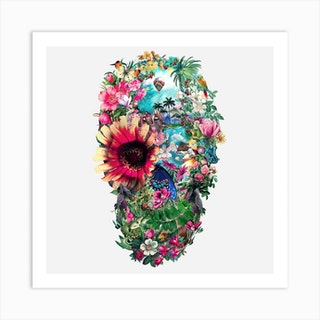 Summer Skull Square Art Print